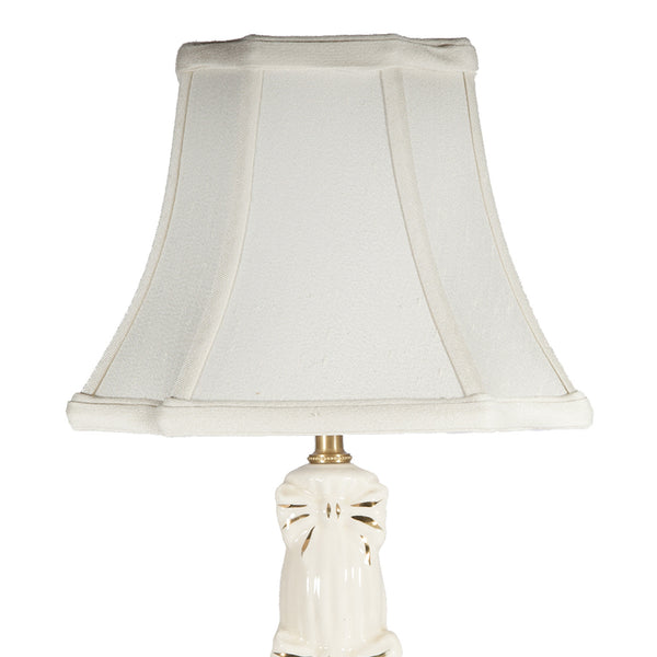 Vintage Ivory Ceramic Bow Embossed Table Lamp
