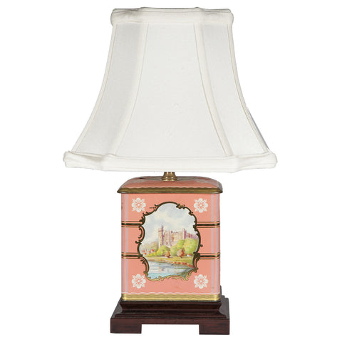 Small Pastel Pink Landscape Tea Caddy Lamp