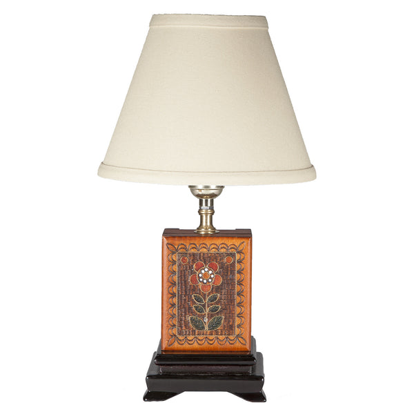 Small Polish Carved Wood Box Table Lamp