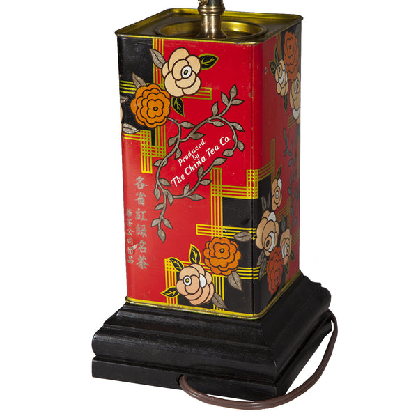 Vintage Red Asian Tea Caddy Lamp