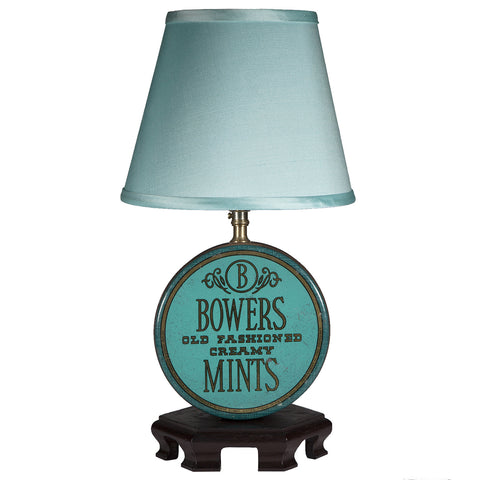 Teal Blue Vintage Candy Tin Lamp