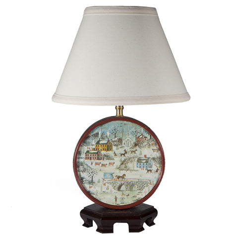 Vintage Round Rural Winter Scene Lamp