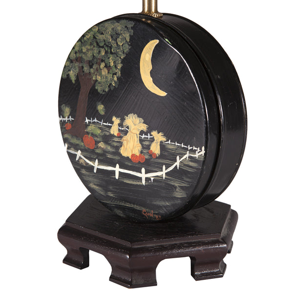 Vintage Folk Art Painted Tin Up-cycled Halloween Lamp