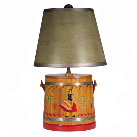 Vintage Wood Bucket Table Lamp