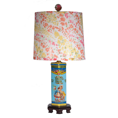 Flower Girl on Blue Tin Table Lamp
