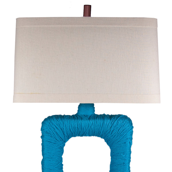 Wrapped Blue Yarn Wood Table Lamp