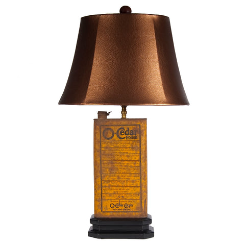 Vintage Yellow O'Cedar Metal Can Lamp