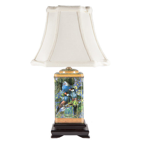 Vintage Birds in Cage Tin Lamp