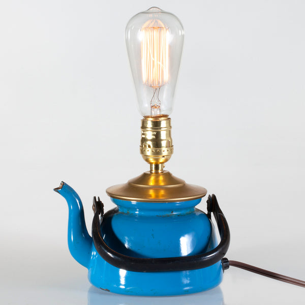 Vintage Blue Enamel Tea Pot Lamp with New Filament Light Bulb