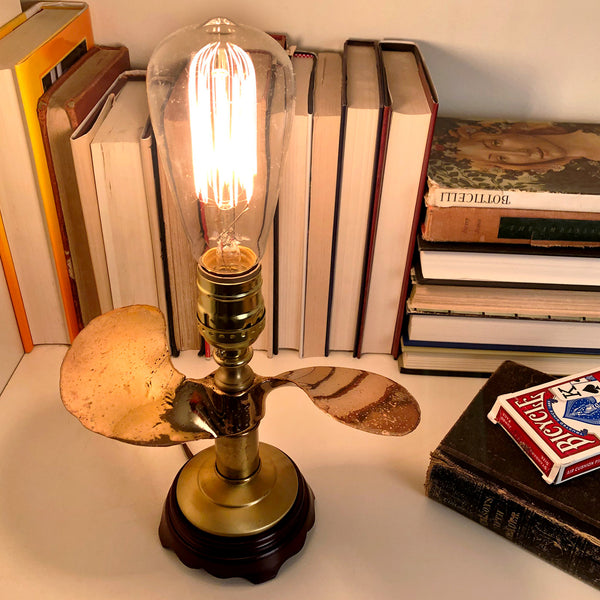 Vintage Solid Brass Boat Propeller Lamp with Large New Filament Lightbulb