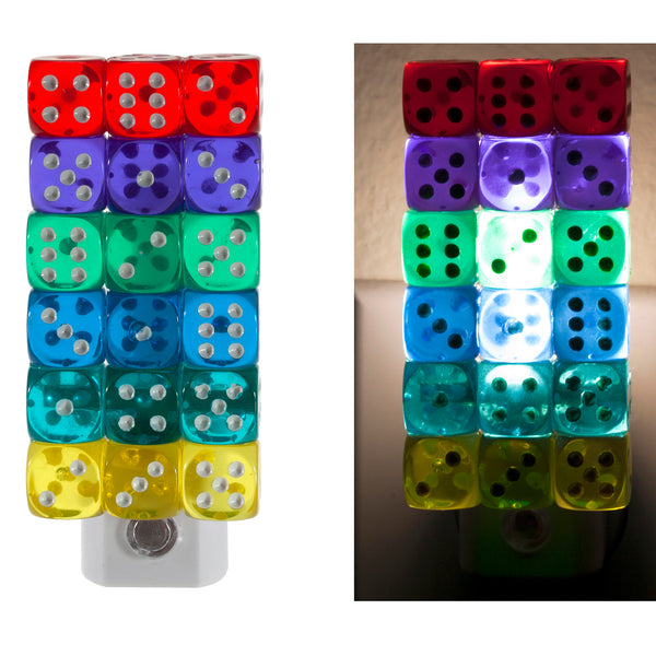 Unique Stacked Colored Dice Plug In LED Night Light with Automatic Sensor