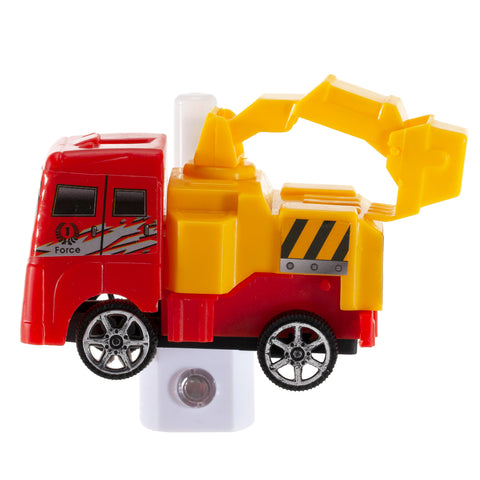Red Truck Night Light - LED Plug In Nightlight Handcrafted from Toy Crane Truck