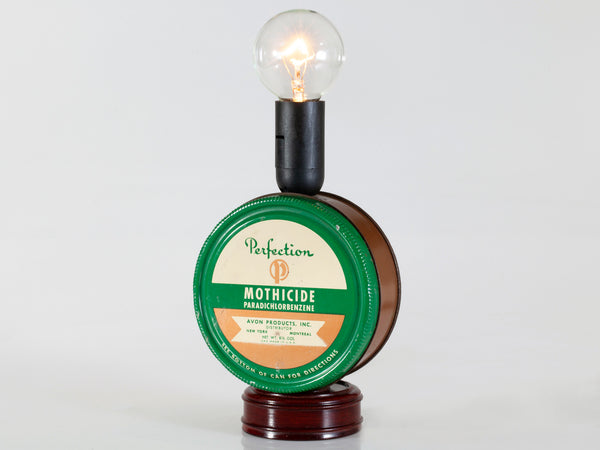 Vintage Small Avon Tin Mounted on Base with New Filament Light Bulb