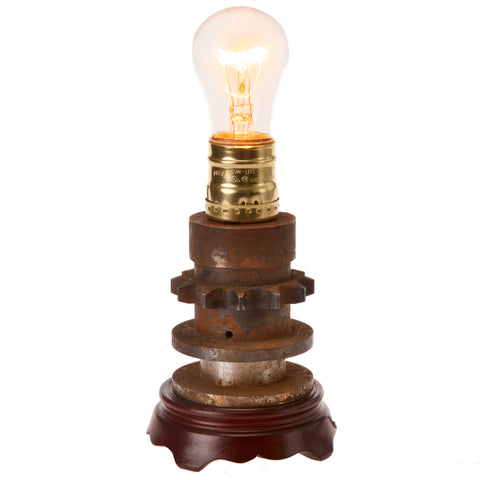 Industrial Vintage Gear Handcrafted Up-cycled Accent Lamp