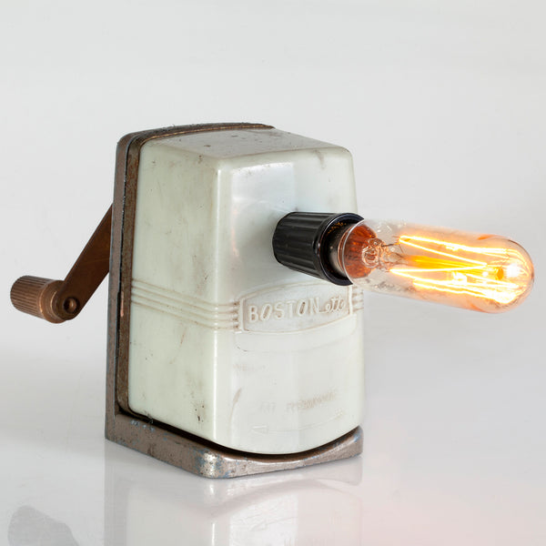 Vintage Midcentury Pencil Sharpener Up-cycled Lamp with New Filament Lightbulb