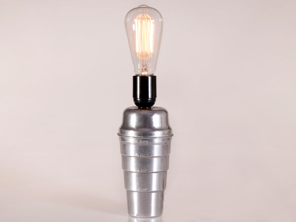 Vintage Aluminum Measuring Cup with New Large Filament Lightbulb