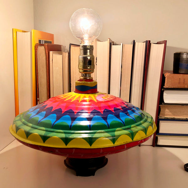 Vintage Children's Metal Toy Top One-of-a-Kind Lamp with Filament Lightbulb