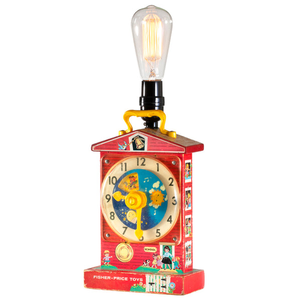 Vintage Musical Toy Clock Up-cycled Nursery Lamp with New Filament Lightbulb
