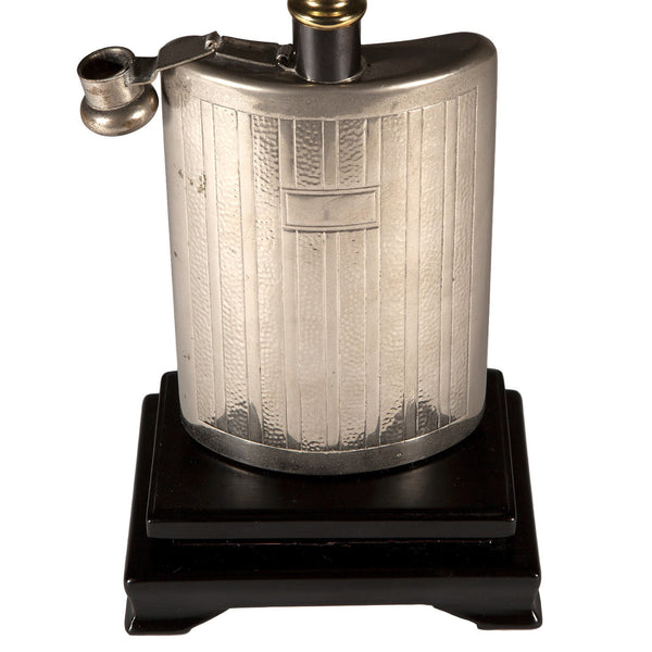 Vintage Silver Metal Flask Lamp