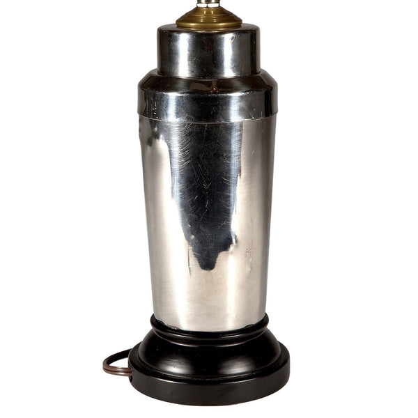 Vintage Silver Cocktail Shaker Lamp