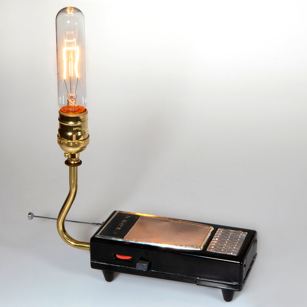 Hand Crafted Up-cycled Vintage Radio Lamp with Filament Lightbulb