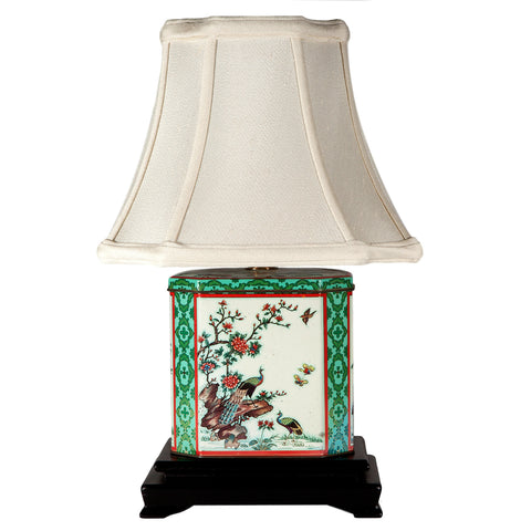 Vintage Peacock Birds Tea Caddy Tin Lamp