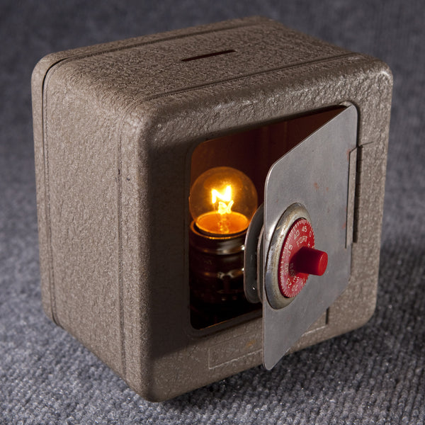 Vintage Child's Bank Safe Up-cycled Small Lamp