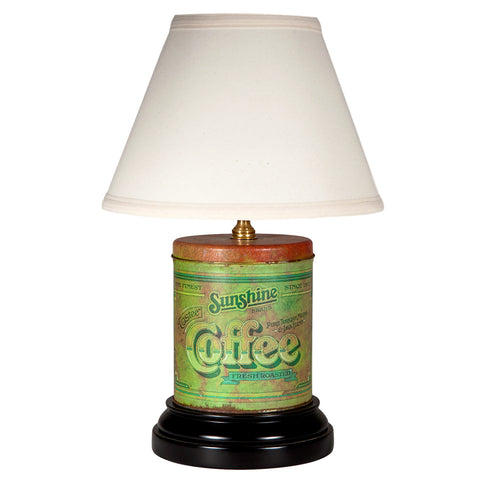 Vintage Styled Green Coffee Tin Lamp
