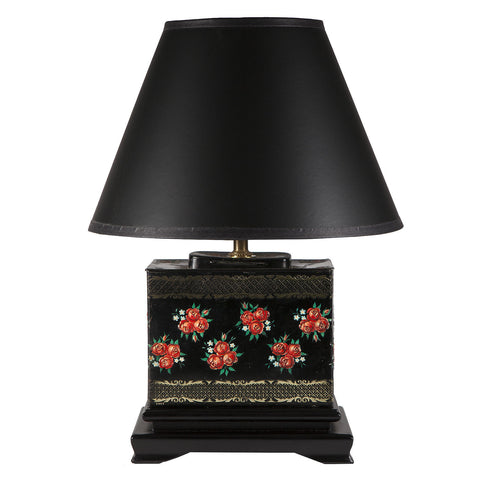 Vintage Black & Red Floral Rectangular Lamp