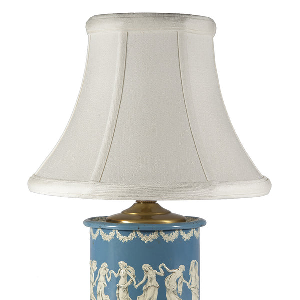 Vintage Blue White Wedgwood Styled Caddy Lamp
