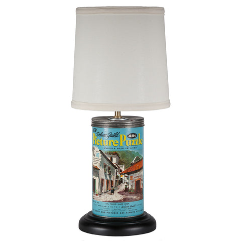 Vintage Jigsaw Puzzle Container Lamp