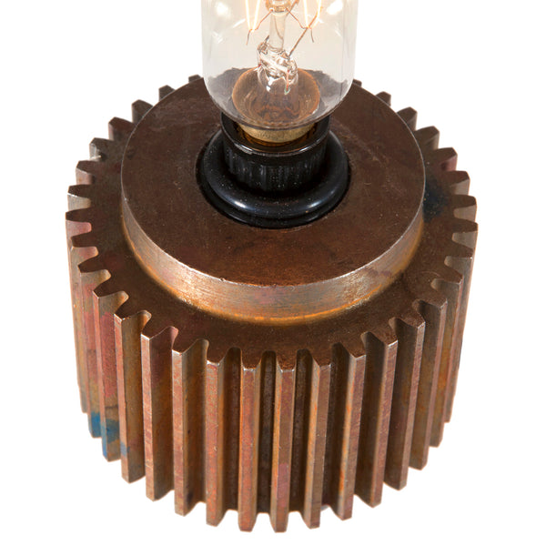 Industrial Lamp Up-cycled from Vintage Solid Metal Ribbed Cog