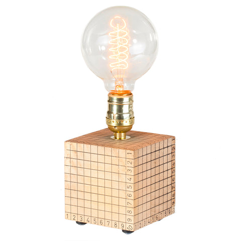 Unique Vintage Wood Cube Lamp with Large Filament Lightbulb