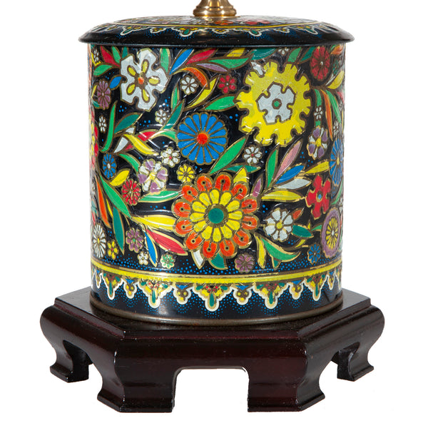 Vintage Daher Metal Tin with New Fabric Lampshade