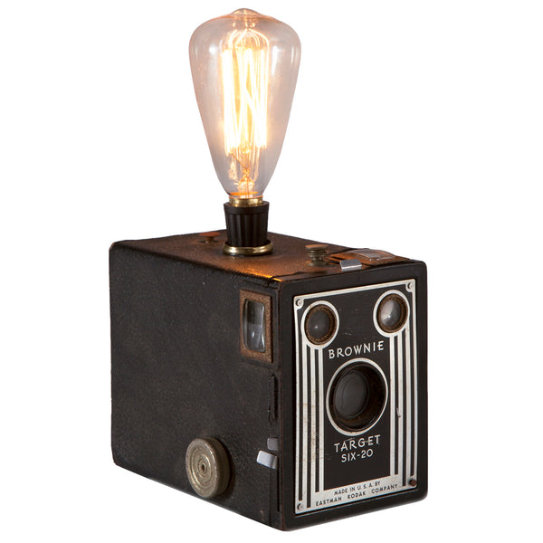 Vintage Brownie Target Camera Lamp with Filament Bulb