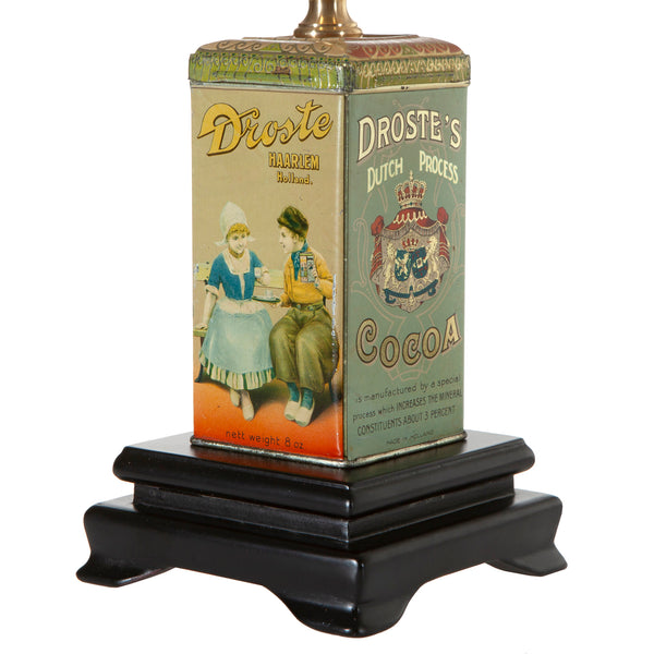 Vintage Droste Cocoa Tin Lamp with New Fabric Lamp Shade