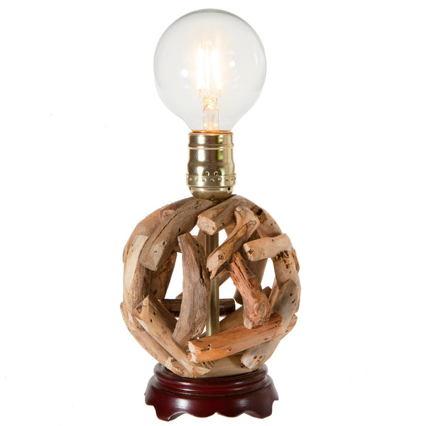 Unique Open Wood Ball Lamp with Filament Lightbulb