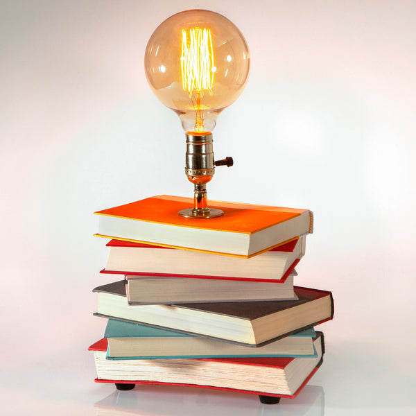 One-of-a-Kind Handcrafted Stack of Books Lamp with Edison Lightbulb