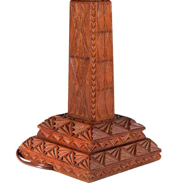 Vintage Carved Wood-like Craftsman-styled Lamp