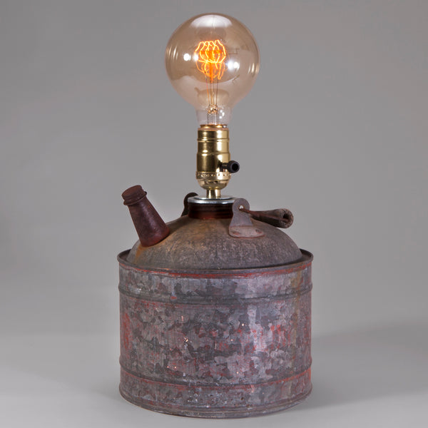 Vintage Oil Can Lamp with Edison Bulb