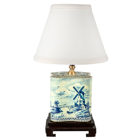 Vintage Blue White Dutch Scene Tin Lamp