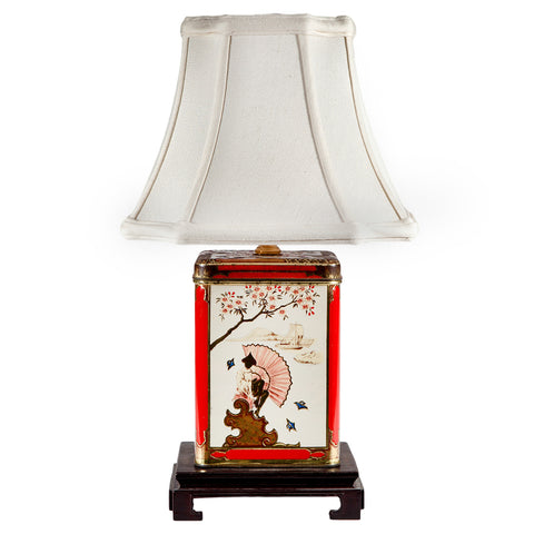 Vintage Asian Styled Tea Caddy Lamp