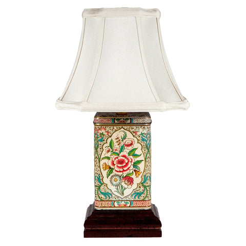Vintage Floral Square Caddy Lamp