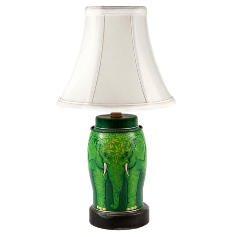 Green Elephant Nursery Tin Lamp