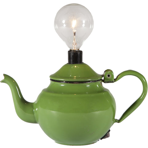 Vintage Green Teapot Kitchen Mini Lamp
