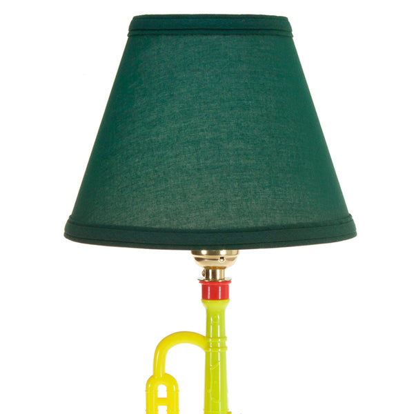 Toy Trumpet Up-cycled Lamp with New Green Lampshade