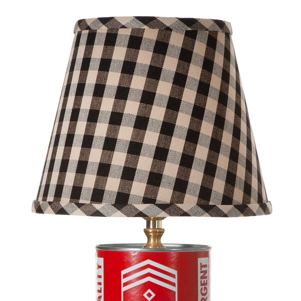 Vintage Motor Oil Tin Lamp with New Black Check Lampshade