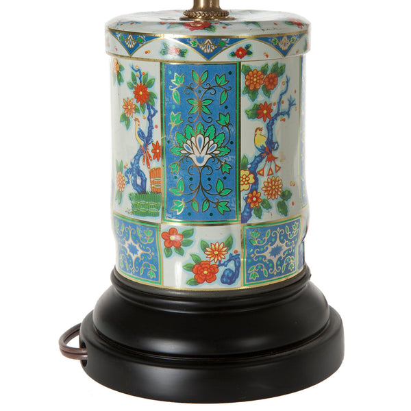 Vintage Daher Tea Caddy Lamp with New Blue Fabric Lampshade