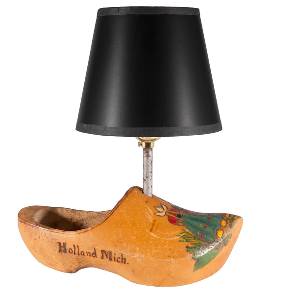 Vintage 1947 Hand Carved Wood Shoe Up-cycled Lamp