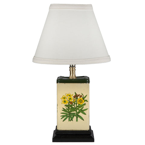 Vintage Square Flowers Tin Lamp